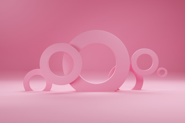 Anéis de cor rosa, para banner ou cartaz. o minimalismo, as formas geométricas abstratas e o fundo 3d dos formulários rendem.