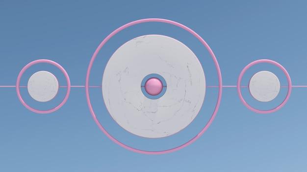 Anéis de mármore e rosa girando no céu. ilustração abstrata, renderização 3d.