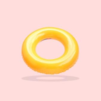 Anéis de natação cor amarela isolados