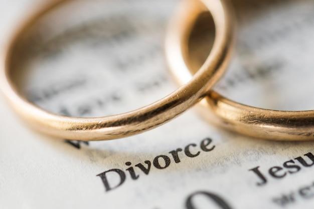 Anéis de ouro conceito de divórcio