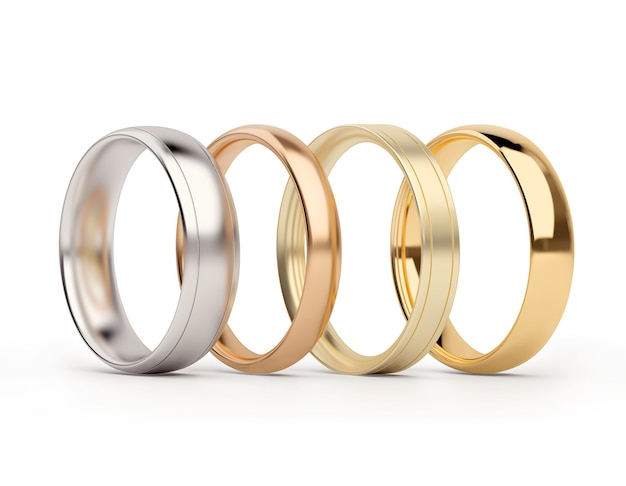 Anéis de ouro e prata isolados