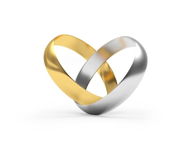 Anéis de ouro e prata são conectados na forma de um coração