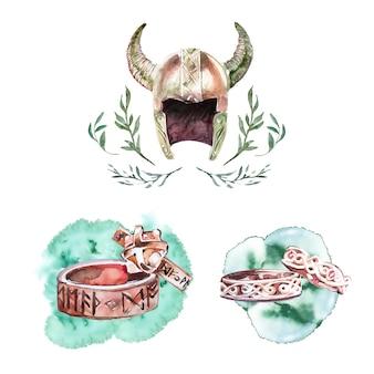 Anéis e capacete vikings pintados à mão em aquarela