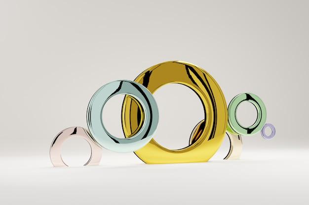 Anéis multicoloridos de brilhantes, para banner ou pôster. o minimalismo, as formas geométricas abstratas e o fundo 3d dos formulários rendem.