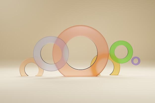 Anéis multicoloridos de vidro, para banner ou pôster. o minimalismo, as formas geométricas abstratas e o fundo 3d dos formulários rendem.