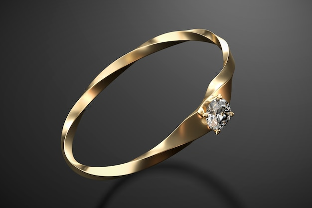 Anel de diamante de ouro isolado em fundo preto renderização 3d