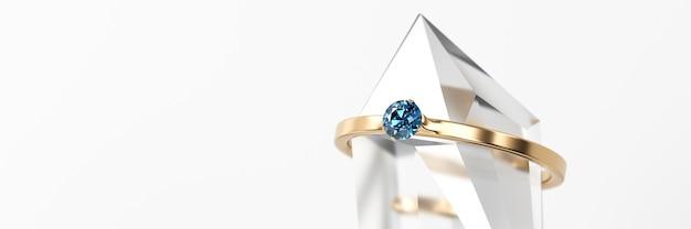 Anel de diamante de safira azul colocado em uma renderização 3d de cristal suave de foco