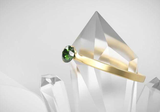 Anel de diamante verde esmeralda em ouro com foco suave em cristal