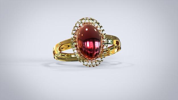 Anel de diamantes de luxo de renderização 3d em fundo branco