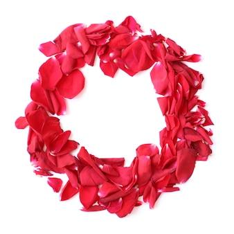 Anel de grinalda de pétalas de rosa vermelha em fundo branco para aniversário, aniversário