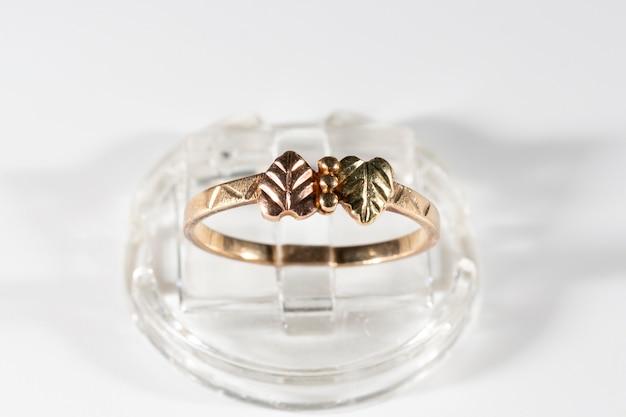 Anel de ouro com duas pequenas folhas feitas de ouro amarelo, verde e rosa.