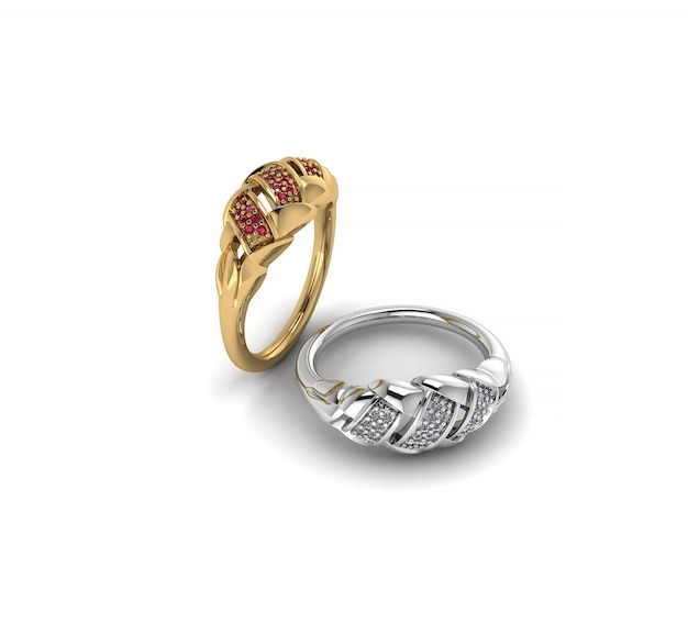 Anel de ouro e prata de ilustração 3d com ruby em um fundo branco