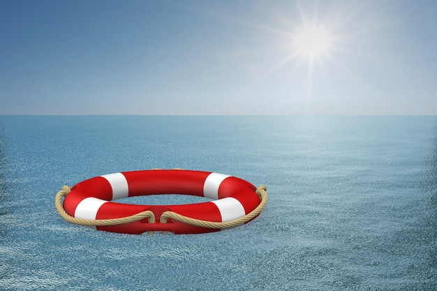 Anel de vida na água. ilustração 3d