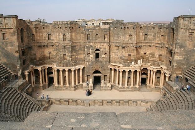 Anfiteatro histórico bosra história síria