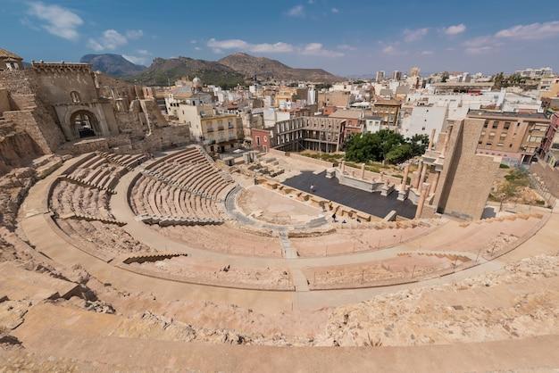 Anfiteatro romano na cidade de cartagena, múrcia, espanha.