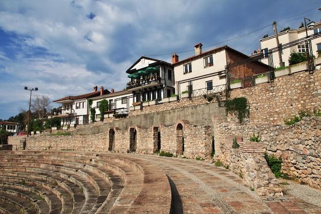 Anfiteatro romano na cidade de orquídea, macedônia