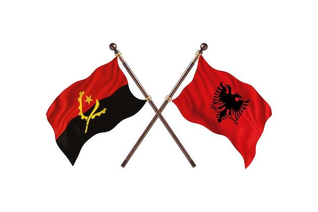 Angola versus albânia fundo de bandeiras de dois países