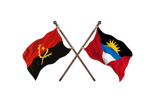 Angola versus antigua barbuda bandeiras de dois países