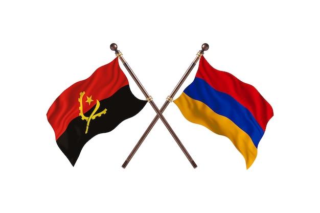 Angola versus armênia fundo das bandeiras de dois países