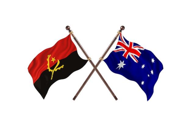 Angola versus austrália fundo de bandeiras de dois países