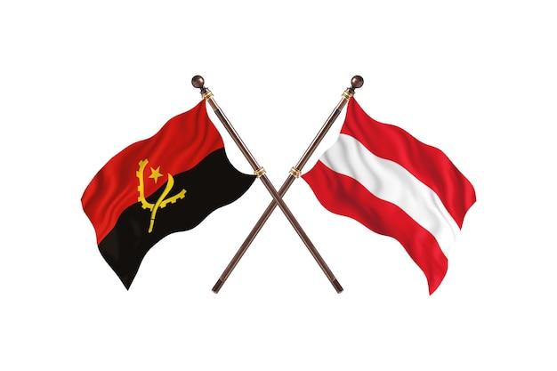 Angola versus áustria fundo de bandeiras de dois países
