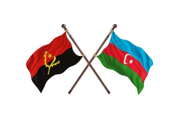 Angola versus azerbaijão fundo das bandeiras de dois países