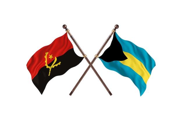 Angola versus bahamas fundo das bandeiras de dois países