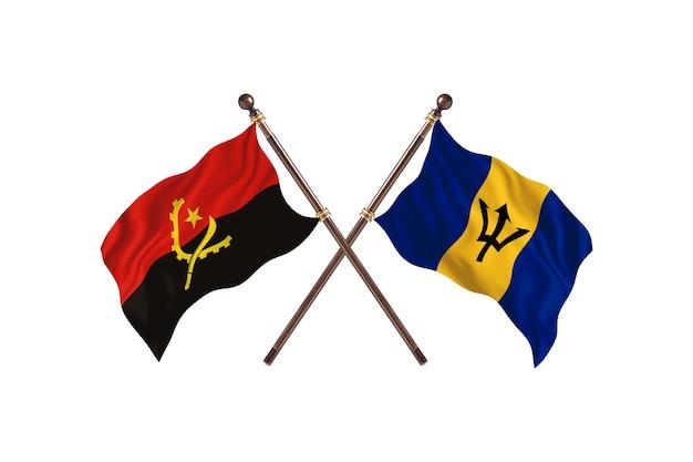 Angola versus barbados fundo das bandeiras de dois países