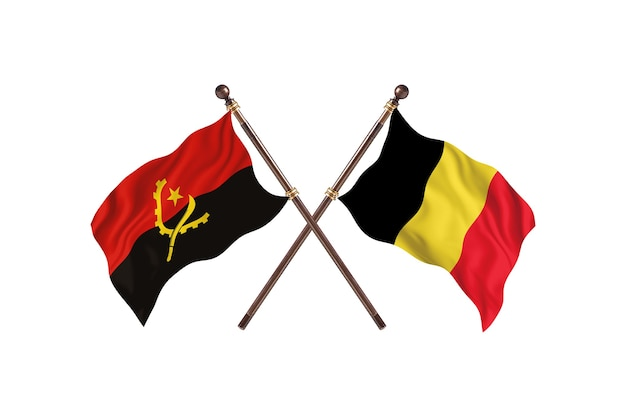 Angola versus bélgica duas bandeiras de países antecedentes