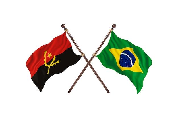 Angola versus brasil fundo de bandeiras de dois países