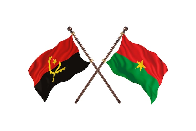 Angola versus burkina faso fundo das bandeiras de dois países