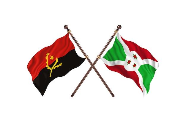 Angola versus burundi fundo de bandeiras de dois países