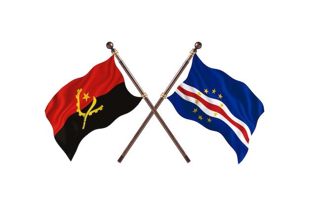 Angola versus cabo verde fundo das bandeiras de dois países