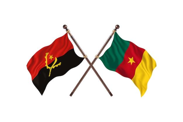 Angola versus camarões fundo das bandeiras de dois países