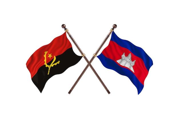 Angola versus camboja fundo de bandeiras de dois países