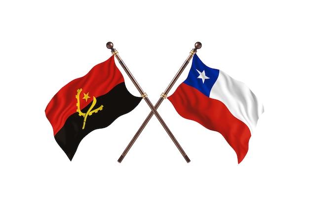 Angola versus chile fundo de bandeiras de dois países