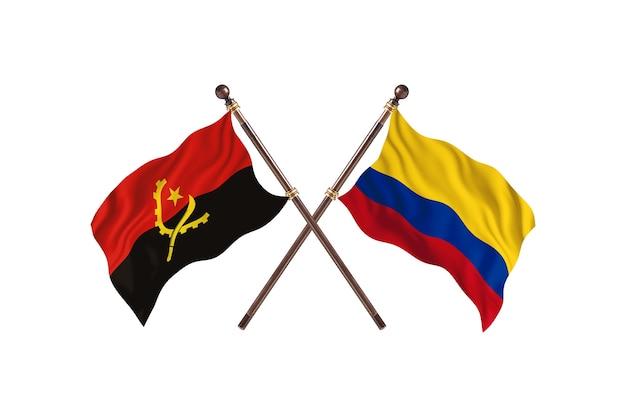 Angola versus colômbia fundo de bandeiras de dois países
