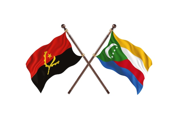 Angola versus comores fundo das bandeiras de dois países