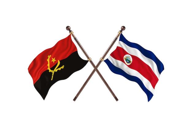 Angola versus costa rica fundo de bandeiras de dois países