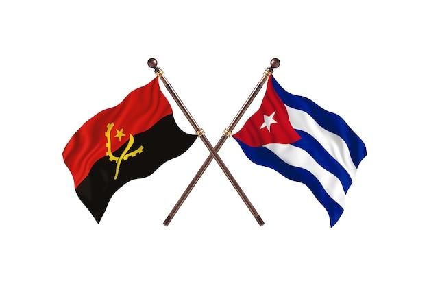 Angola versus cuba fundo das bandeiras de dois países