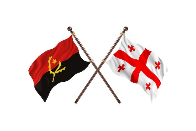 Angola versus geórgia fundo das bandeiras de dois países