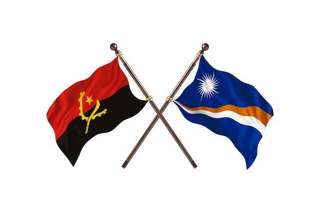 Angola versus ilhas marshall fundo de bandeiras de dois países