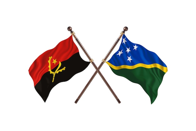 Angola versus ilhas salomão - fundo de bandeiras de dois países