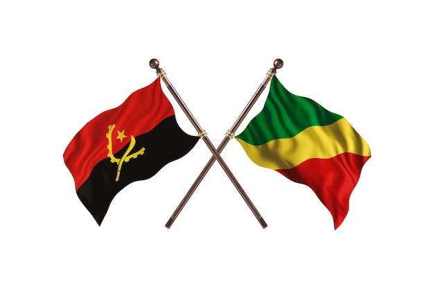 Angola versus república democrática do congo - fundo de bandeiras de dois países