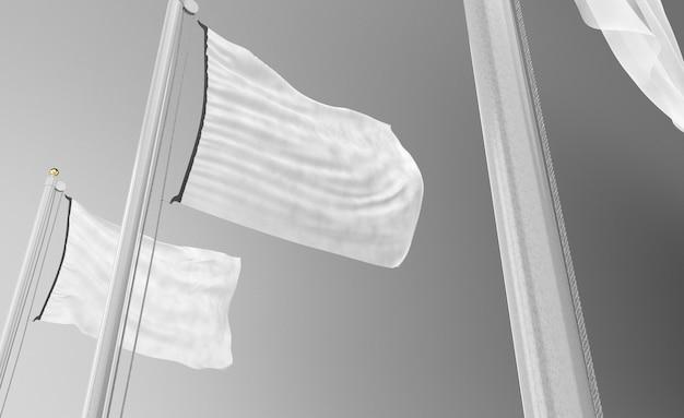 Ângulo baixo de bandeiras em branco