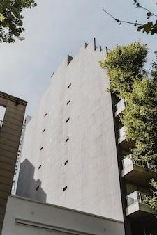 Ângulo baixo de construção na cidade com árvores