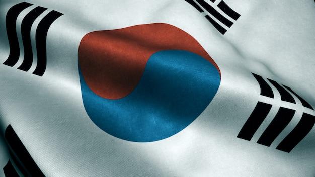 Animação 3d da bandeira da coreia do sul. realistic south korea flag balançando ao vento.
