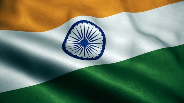 Animação 3d da bandeira da índia. realistic india flag acenando no vento.