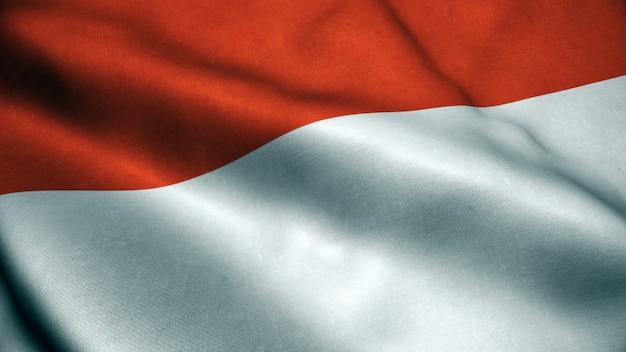 Animação 3d da bandeira da indonésia.