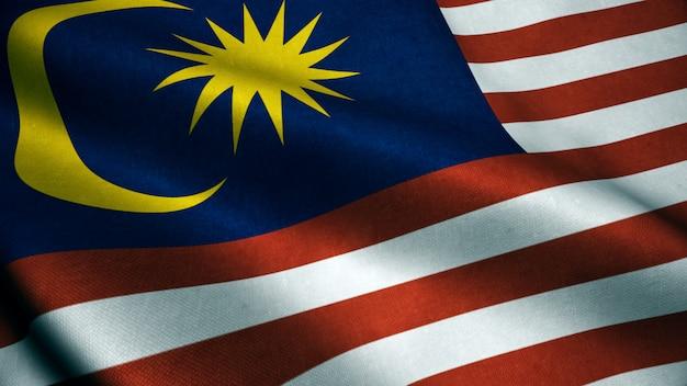 Animação 3d da bandeira da malásia. realistic malaysia flag acenando no vento.